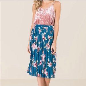 Francesca's Glinda Floral Midi Skirt sz L